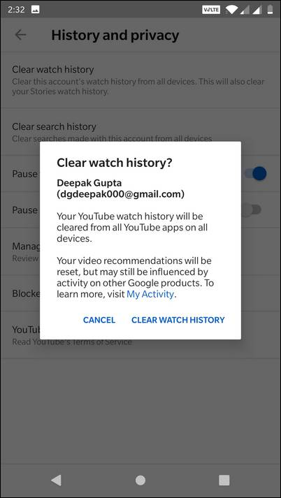 Tap on Clear Watch History on YouTube App