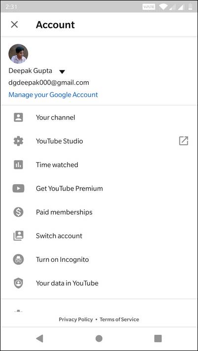 Tap Profile on YouTube App