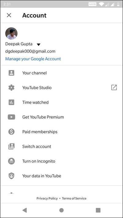 Tap Profile on YouTube App