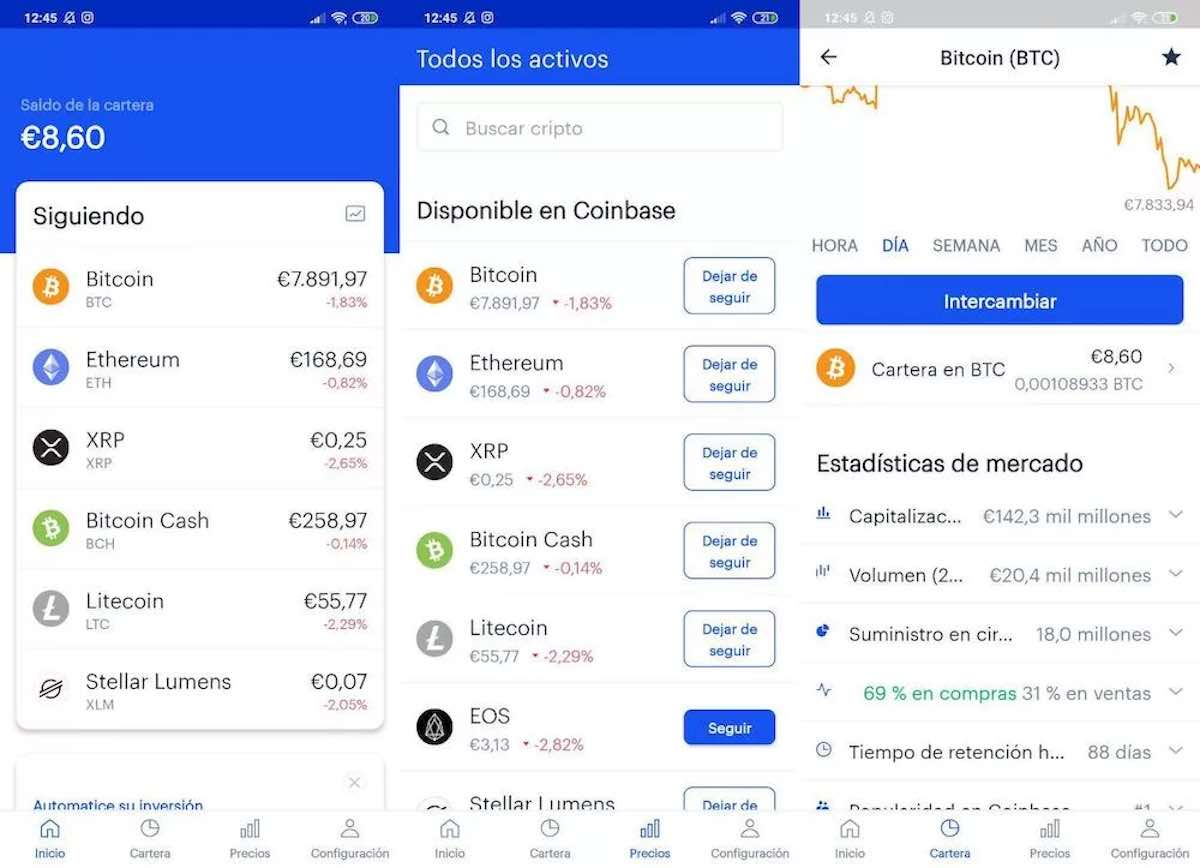 Coinbase does not work, the app does not allow to operate with cryptocurrencies