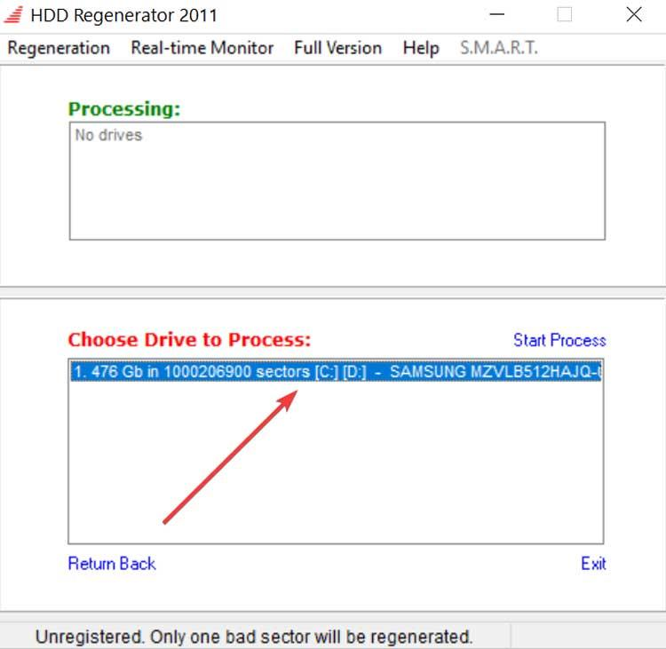 HDD Regenerator select hard drive