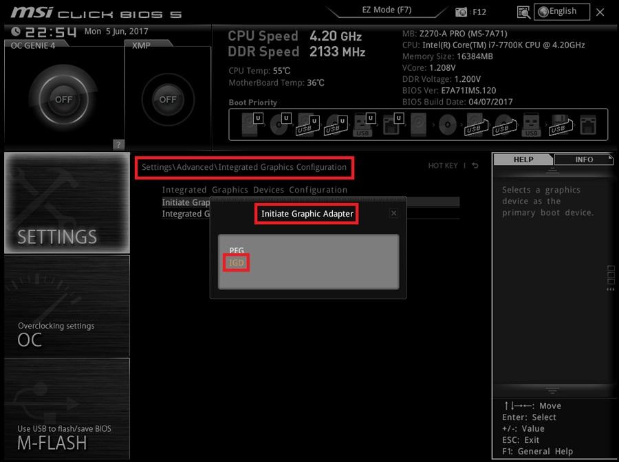Disable MSI Integrated Graphics