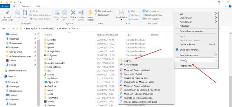 Create new folder to organize files