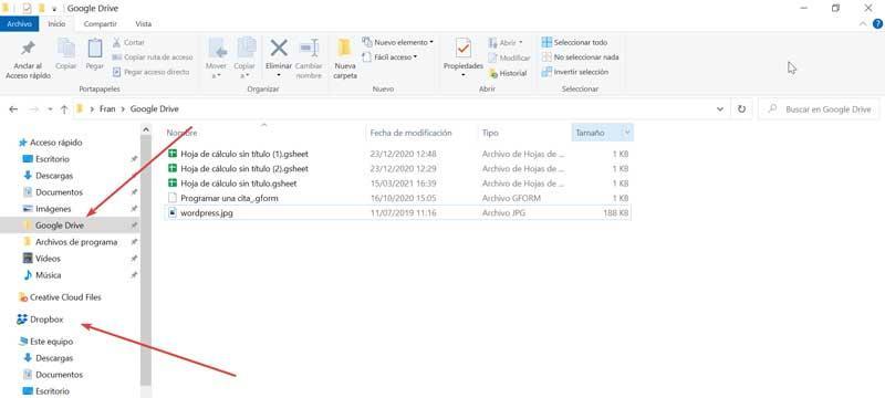 Google Drive and Dropbox folders