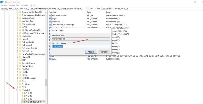 Registry Editor change value of ProfileImagePath