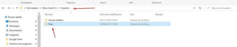 Select folder within User folder