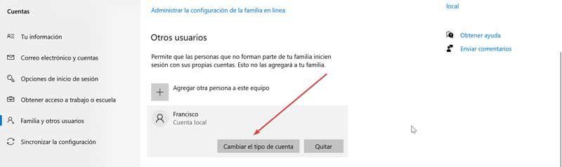 User change account type