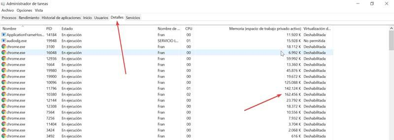 Task manager details and memory