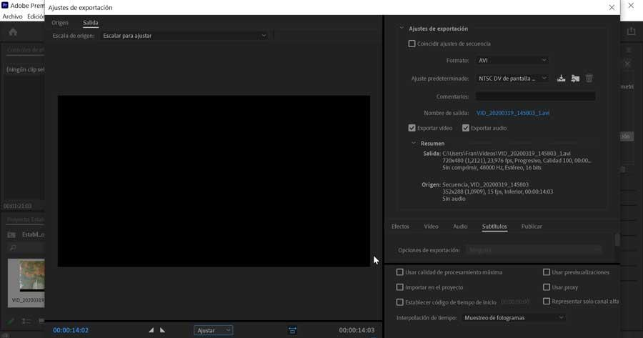 Adobe Premiere Pro export settings