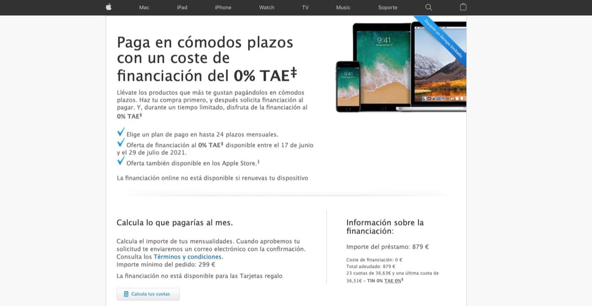 Financing without cost Apple