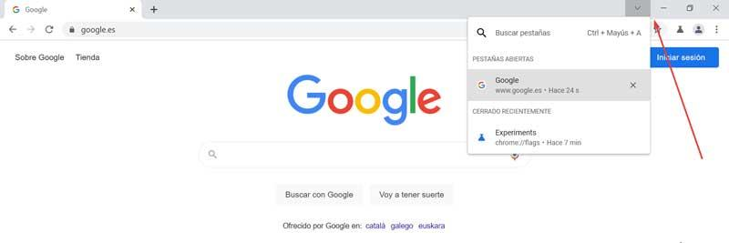New look for the Search Tabs button in Chrome