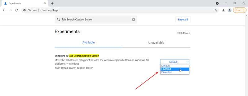 Activate new button for Search tabs in Chrome