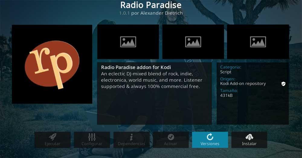 Radio Paradise Kodi add-ons