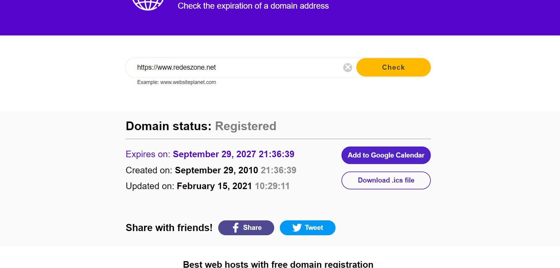 See when a web domain expires