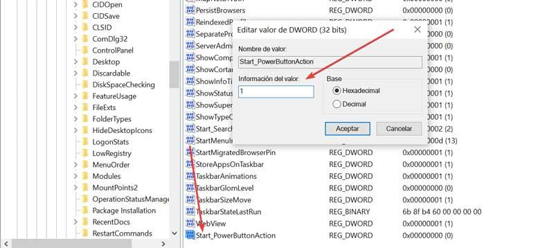 Edit Start_PowerButtonAction value