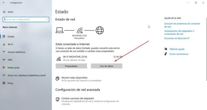 Network status Data usage
