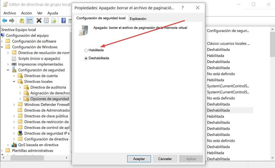 Enable clearing of paging file