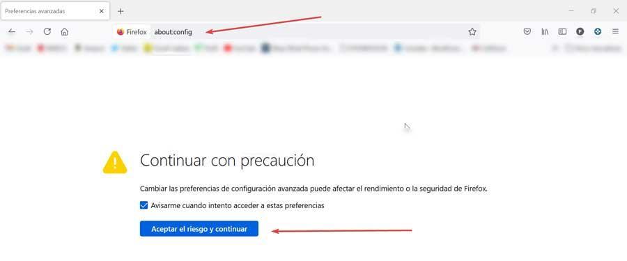 Firefox access settings