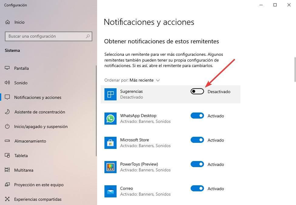 Turn off reminders suggestions Windows 10