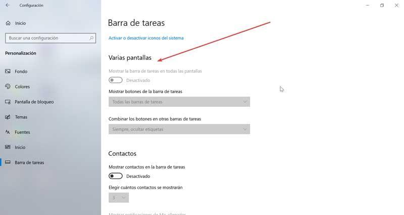 Taskbar on multiple screens