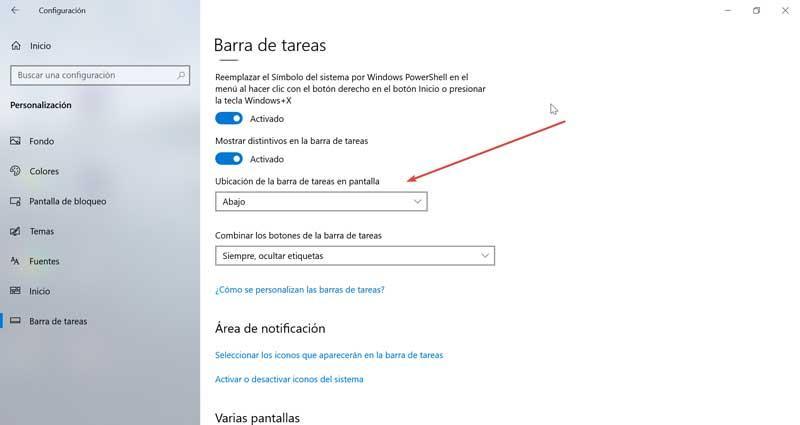 Taskbar location