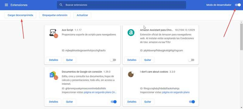 Chrome extensions developer mode and unzipped upload
