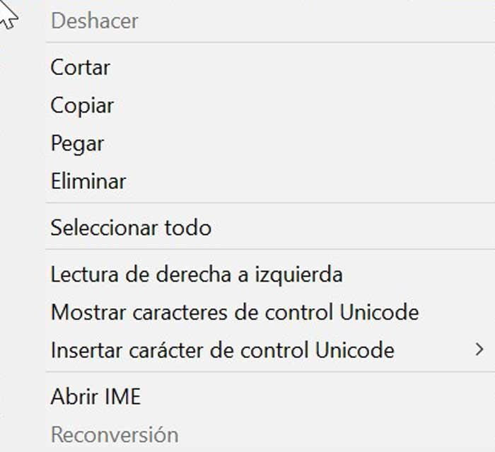 Context menu copy, cut and paste