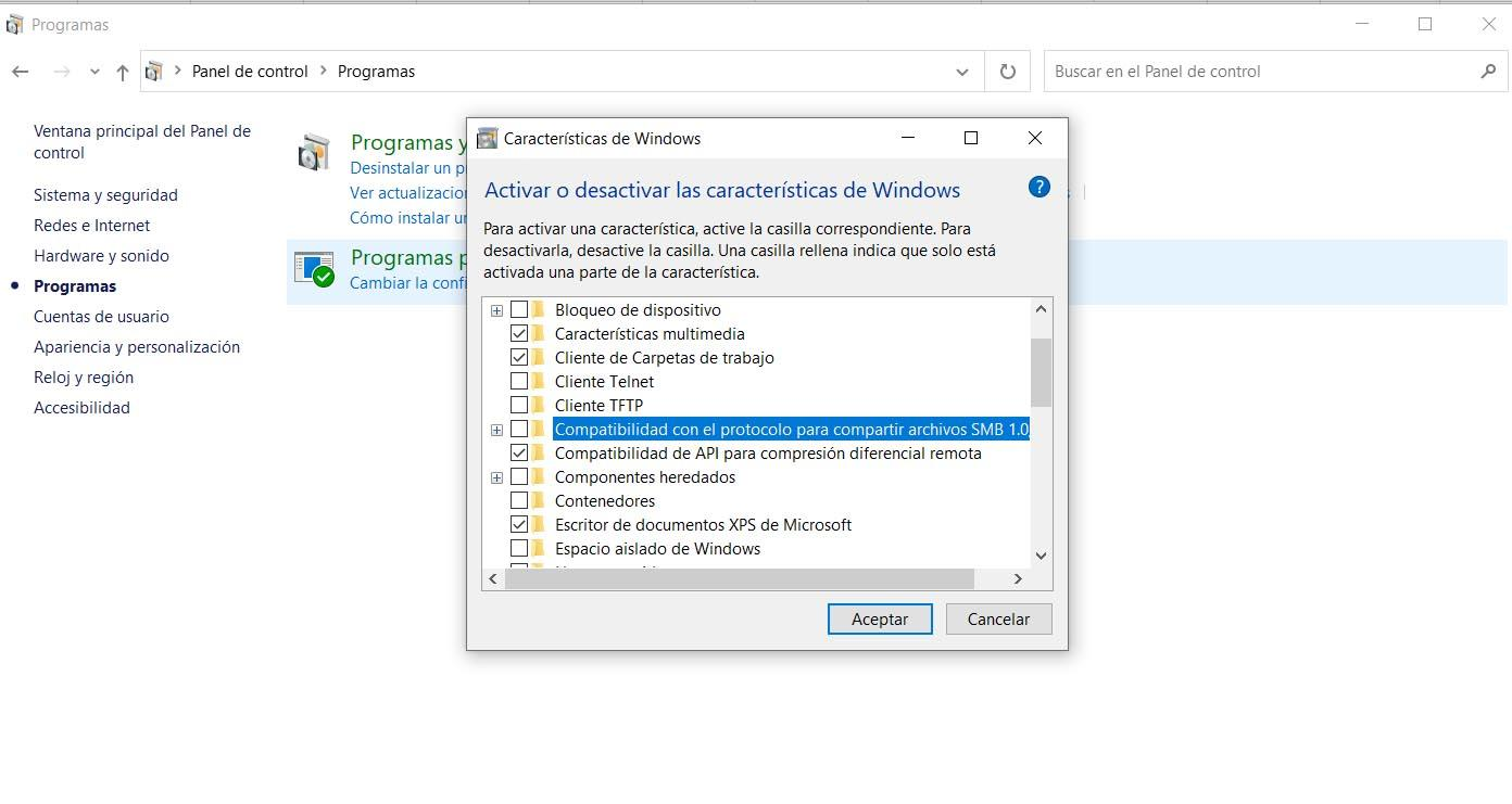 Enable SMB1 in Windows