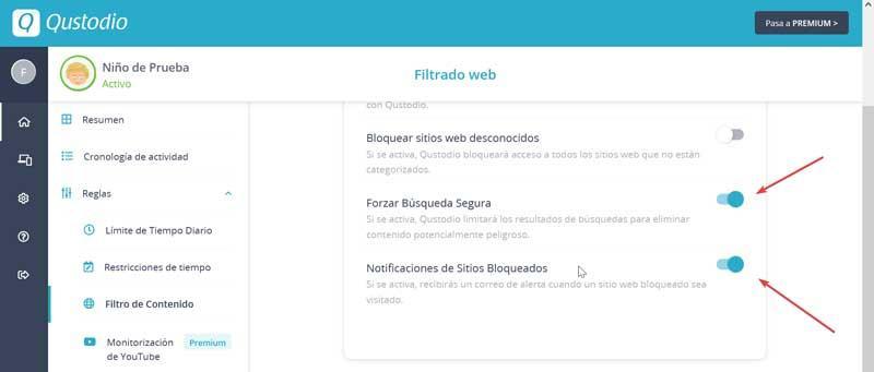 Qustodio Web Filtering