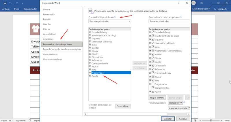 Word add Developer tab