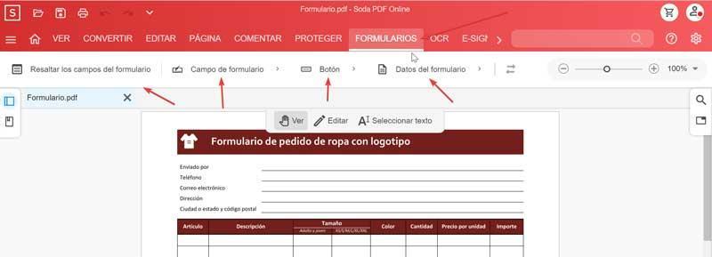 Soda PDF Online Forms tools