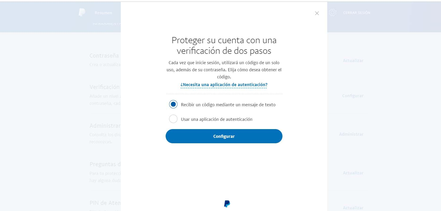 Set up two-step authentication in PayPal