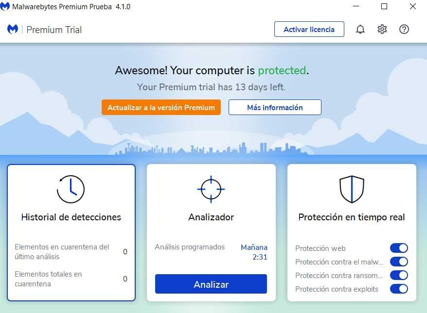 Malwarebytes Premium main interface