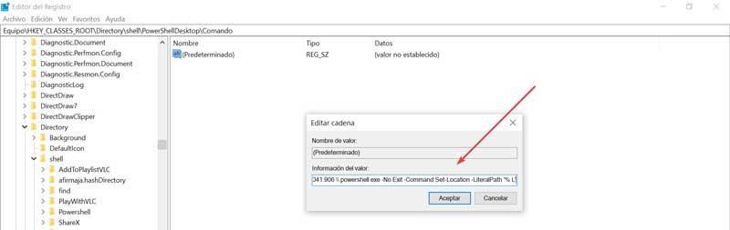 Registry editor command edit string