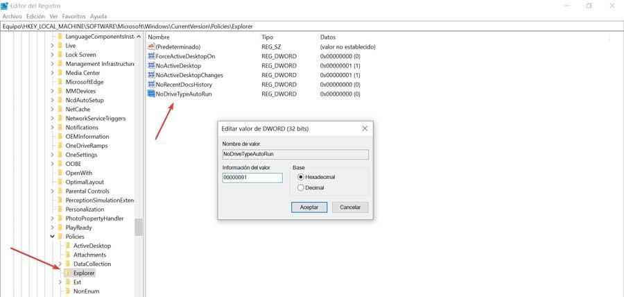 NoDriveTypeAutoRun registry editor
