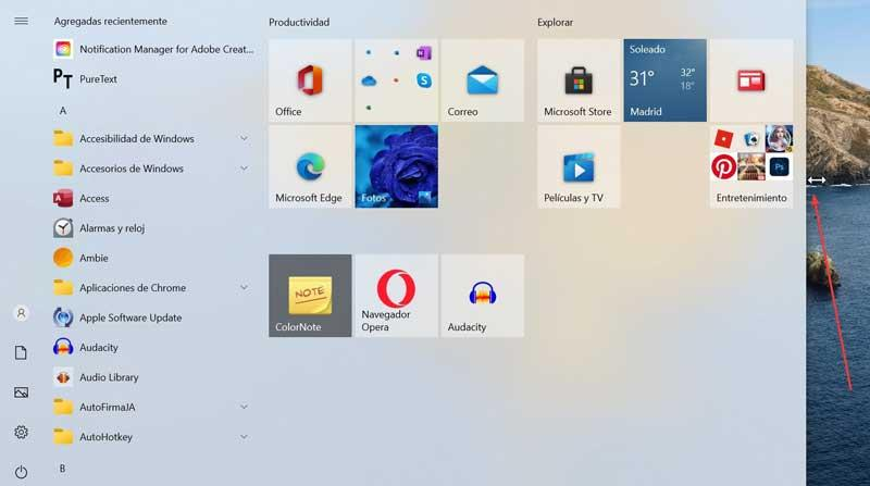 Adjust Start menu size to the right