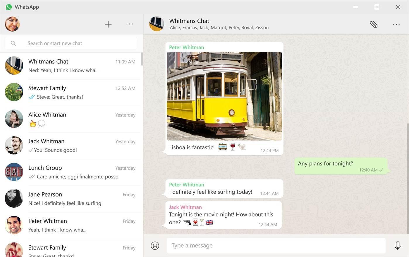 WhatsApp Desktop on Windows 10