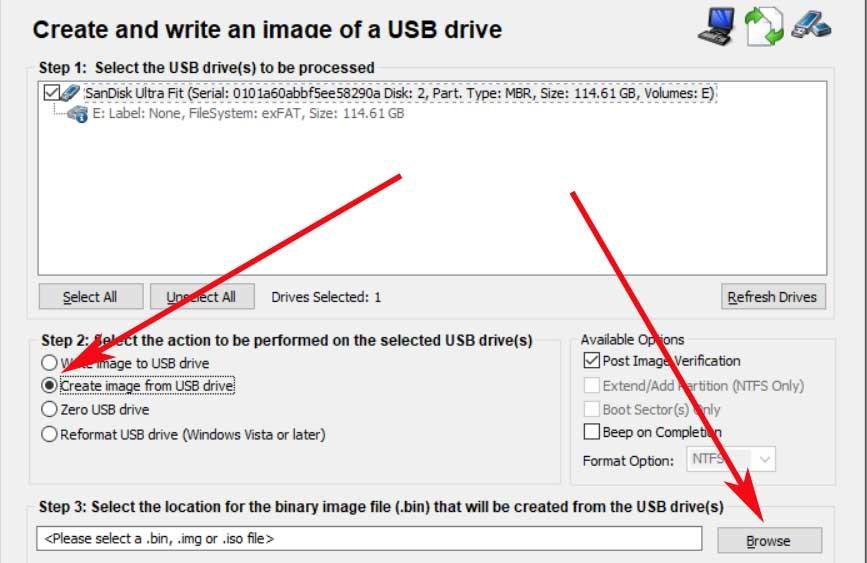 create USB memory image