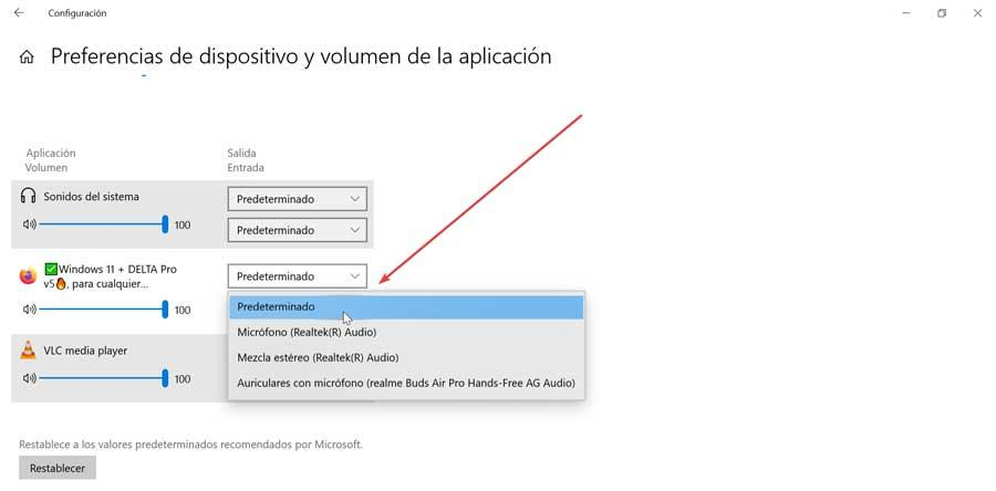 Set audio input and output by application in Windows