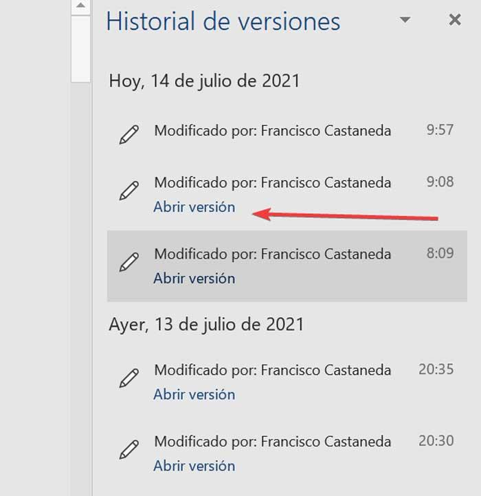 Version history in Word