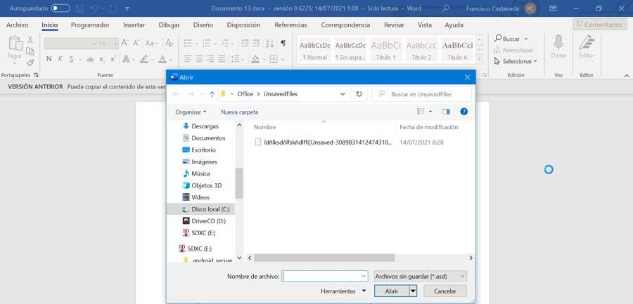 Word recover unsaved file