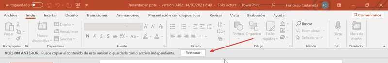 Restore PowerPoint presentation
