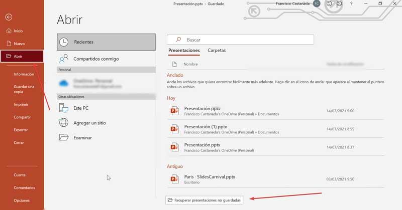 PowerPoint recover unsaved presentations