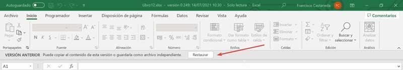 Excel restore saved workbook