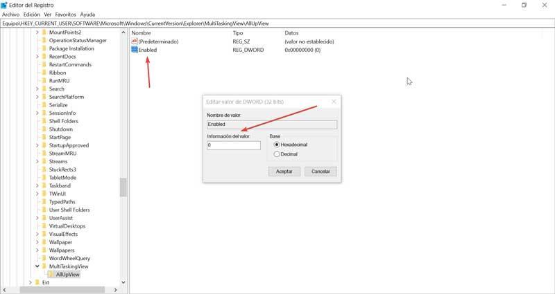 Registry Editor AllUpView value 0