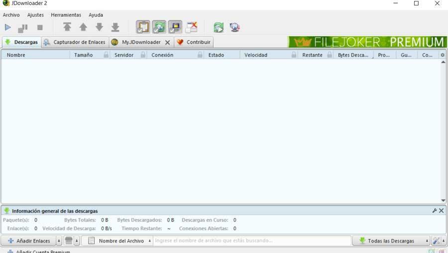 JDownloader interface