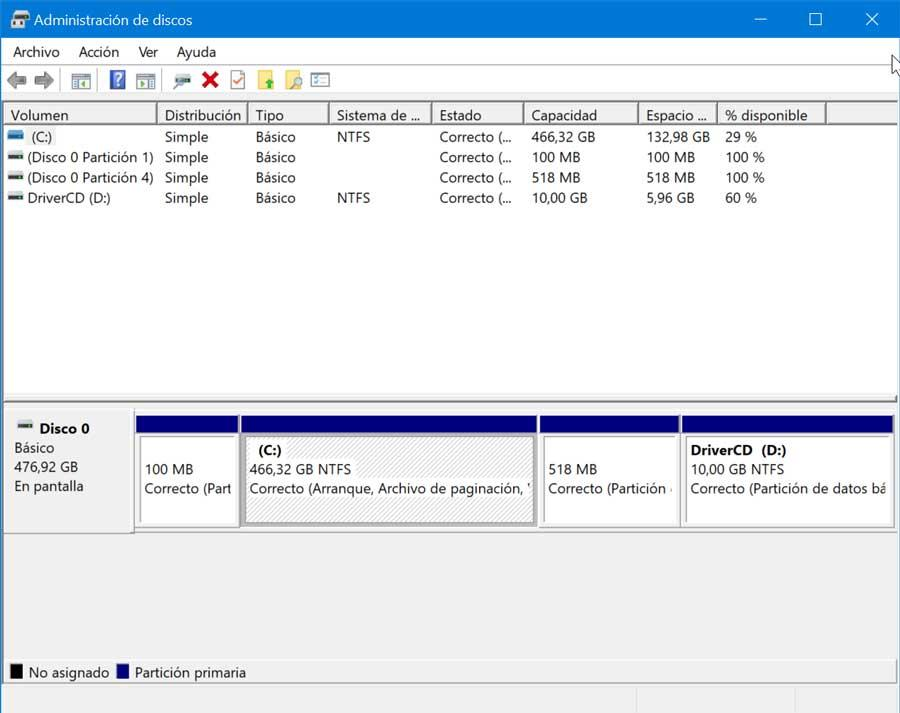 Disk management in Windows