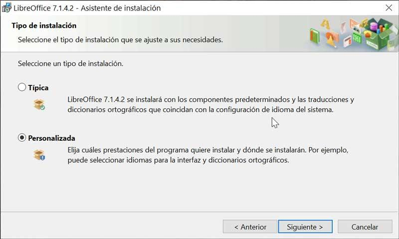 LibreOffice Typical or Custom installation