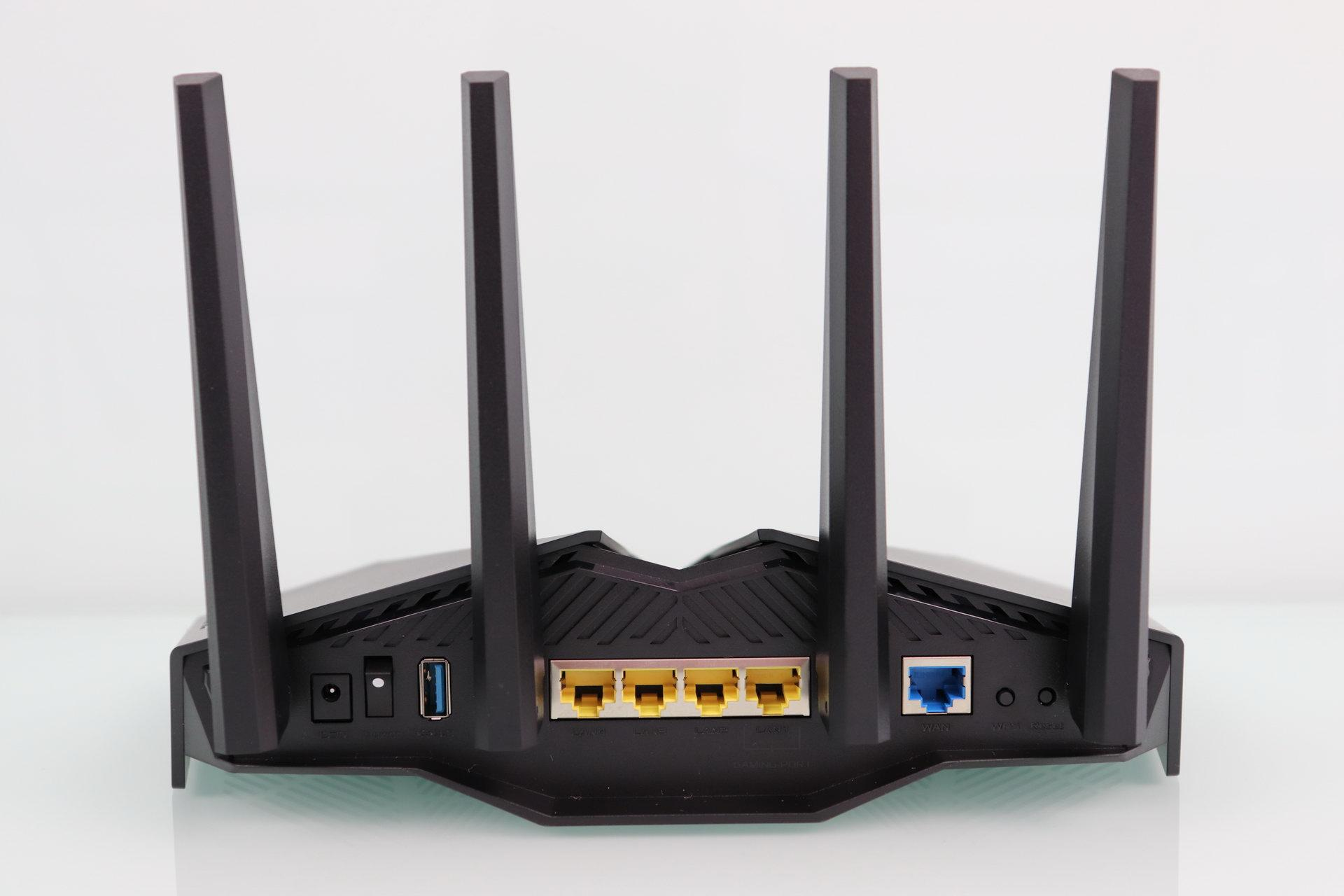 Rear of the ASUS RT-AX82U router in detail