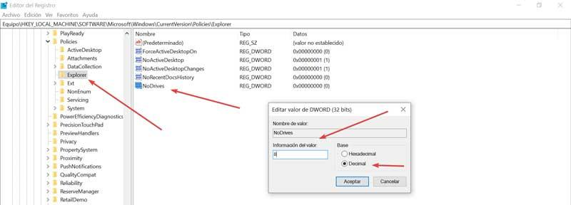 Hide drives using Registry Editor